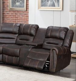 Brown leather reclining sectional sofa for Sale in Houston,  TX