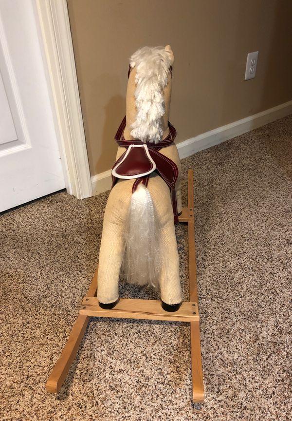 Sturdy Rocking Horse w/ Saddle, Bridle, & Metal Stirrups