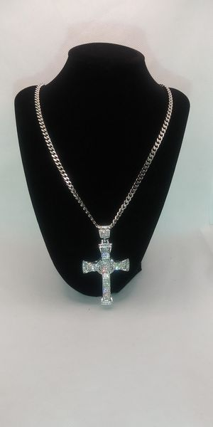 4x30 18kt white gold filled cuban link necklace and ied out cross pendant for Sale in Garfield Heights, OH