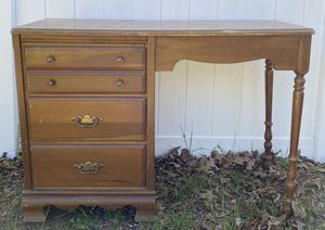 Vintage Wood Colonial Style 3 Dovetail Drawer Desk Bureaux Vanity Console Table for Sale in Chapel Hill, NC