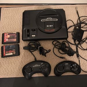 Sega Genesis original retro vintage system console with 2 controllers 2 video games cable no power adapter for Sale in Burtonsville, MD