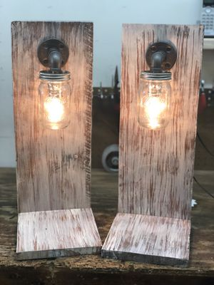 floating shelves with steampump mason jar sconces. All one piece. Plugs into the wall for Sale in Charlotte, NC