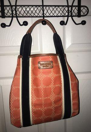 Kate spade ♠️ orange canvas tan leather tote bag for Sale in Sanford, FL
