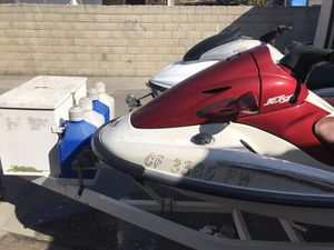 Two 4 stroke Jet skis Yamaha 2000 and Kawasaki 2003 with trailer, vests, and fuel tanks for Sale in South El Monte, CA