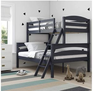 Bunk bed twin full size solid wood mattresses included for Sale in Dublin, CA