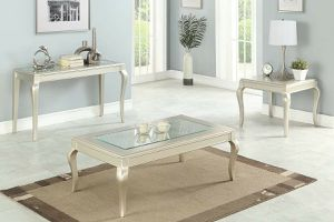 Champagne Finish 3 PIECE OCCASIONAL TABLE SET COFFEE CONSOLE END TABLES for Sale in San Diego, CA