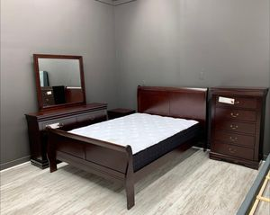 Brand New HOT DEAL Louis Philip Cherry Sleigh Bedroom Set 4-PIECE QUEEN Size. Bed Frame, Dresser, Mirror and Nightstand for Sale in Jessup, MD
