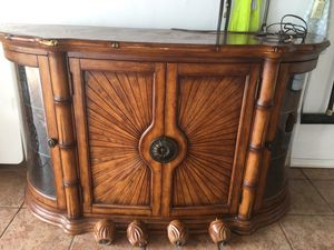Cabinetes, China cabinet, kitchen antique beautiful piece, solid wood with glass side and lights, 2 shelves inside, this is not IKEA, what u see in t for Sale in Bay Harbor Islands, FL