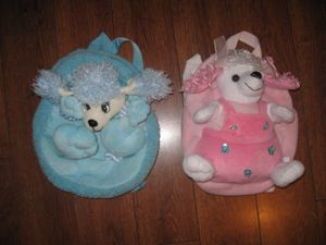 2 Toddler Girls Kids Baby Backpacks with a toy attached Pink and Blue for Sale in Los Angeles, CA