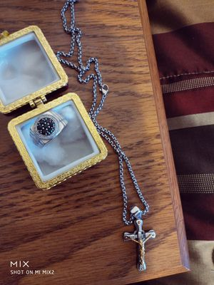 Silver mens Diamond ring and silver chain$,55 for both for Sale in Highland Park, IL