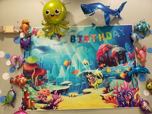 Under the sea theme backdrop and sea animals balloons for birthday party decotation for Sale in Brandon, FL