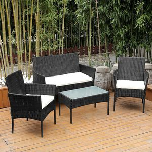Brand New Black 4 Piece Furniture Set - Indoor - Outdoor - Patio - 2x Chairs - Couch - Glass Table for Sale in Orange, CA
