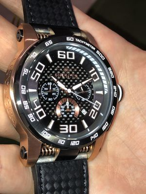 $995 - Invicta Men's S1 Rally Motor Sport Black Carbon Fiber 18k Rose Gold Case Watch Carbon Fiber Leather Strap Rare for Sale in Queens, NY