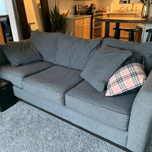 Macy's Jonathan Louis Grey Linen Couch 7 Foot for Sale in Portland, OR