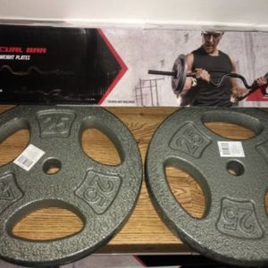 Weights 2x25lb Standard 1 inch plates with a curl bar for Sale in Covina, CA