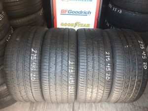 4 USED TIRES 275 45 20 CONTINENTAL CROSS CONTACT 90% TREAD $200 ALL 4 INSTALLED AND BALANCED for Sale in San Diego, CA