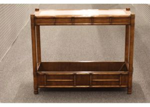 Vintage Drexel Heritage Console Table / Sofa Table / Wooden Bamboo style Console Table / John M Smyth Established 1867 for Sale in Oak Park, IL