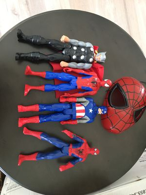 Super Hero Action Figures And Spider Man Mask for Sale in Miami, FL