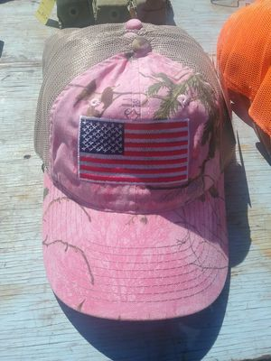 Real tree custom embroidery American flag hat pink mesh back for Sale in Chehalis, WA