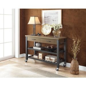 Kitchen Cart with Metal Shelves Brown TV Stand Table Mobile Drawer Storage Home for Sale in Pike Road, AL