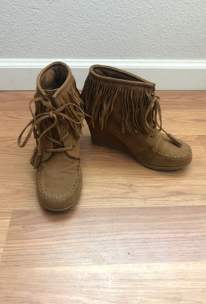 Faux leather fringe wedge for Sale in Mesa, AZ