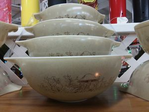 4pc Pyrex Forest Fancy (mushroom) Cinderella mixing bowls! Credit cards accepted 😲 for Sale in Joliet, IL