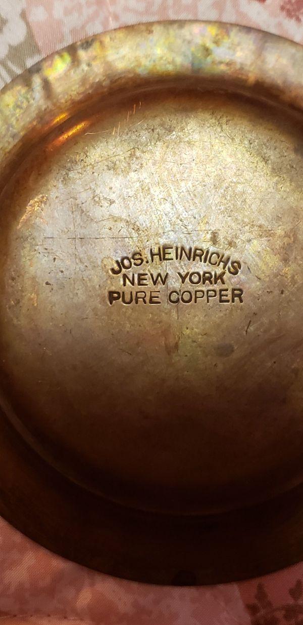 VINTAGE RARE JOS.HEINRICHS NEW YORK PURE COPPER ASH TRAY