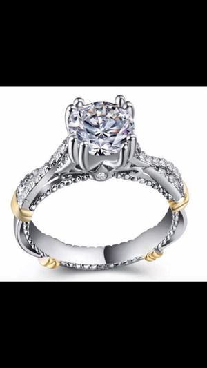 Woman's Breathtaking TwoToned Oval Cut WHiTE SAPPHIRE 925 Sterling Silver Engagement Wedding Brand New Size 6 Ring for Sale in Peoria, AZ