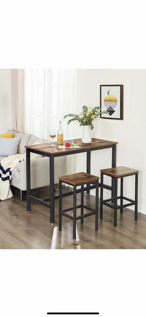 ALINRU Bar Table Set, Bar Table with 2 Bar Stools, Breakfast Bar Table and Stool Set, Kitchen Counter with Bar Chairs, Industrial for Kitchen, Living for Sale in Chino, CA