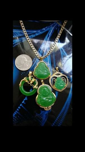 """Lot 4 pcs green jade diamond imitation gold plated wrapped Happy Buddha and heart pendants 1 gold filled Trendmax chain curb Cuban 24"""" 4mm for Sale in Richmond, CA"""