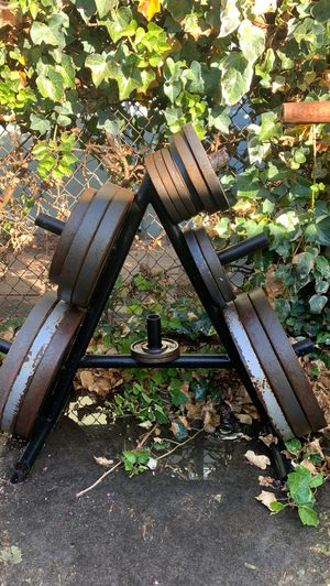 Weights, Bench, Squat Rack, Dumbbells all for sale for Sale in Modesto, CA