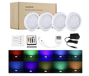 NEW! LED Under Cabinet Lighting - 4Pack Lampwin 2017 New Dimmable RGB Kitchen Under Cabinet Puck Light Fixture Kit for Chirstmas Xmas Decorating Kitc for Sale in Stuart, FL