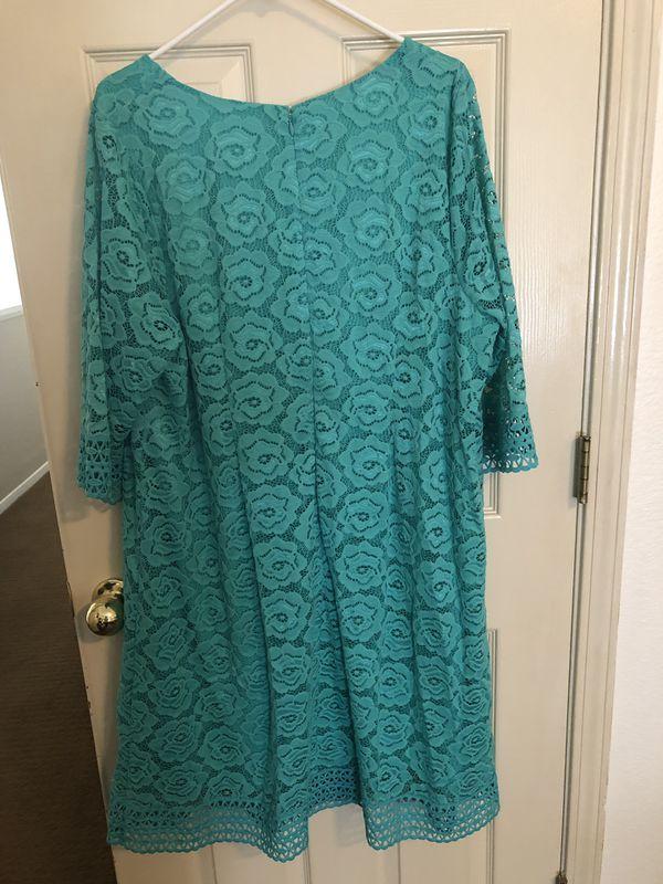 Women's 1X lace dress teal