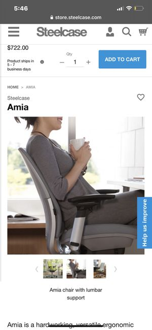 Steelcase Amia office chair with lumbar support for Sale in Chandler, AZ
