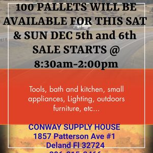 More than 100 PALLETS AVAILABLE THIS SATURDAY AND SUNDAY DEC 5th and 6th DOORS OPEN FROM 8:30am to 2:00pm 1857 Patterson Ave Unit 1 Deland Fl 32724 for Sale in DeLand, FL