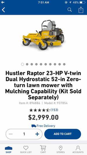 Hustler Raptor 23-HP V-Twin Dual Hydrostatic 52-inch Zero Turn Lawn Mower for Sale in Dallas, TX