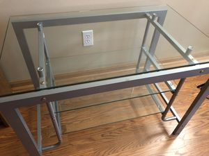 Glass and Metal TV Stand Excellent condition for Sale in Kenosha, WI