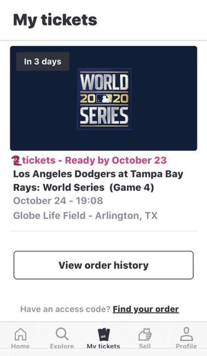 Two World Series Game 4 Tickets for Sale in Altadena, CA