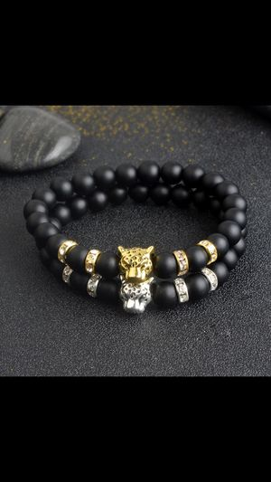 Two Black Natural Stone Lucky Bracelets For Mens Tiger Leopard Bracelets Lucky for Sale in Columbus, OH