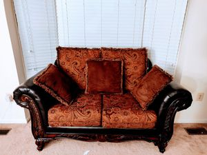 Leather / fabric upholstered sofa and love seat set for Sale in Aspen Hill, MD