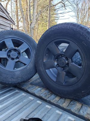 18in Black coded Nissan rims and tires Titan Will fit chevalet and Toyota for Sale in Blackstone, VA