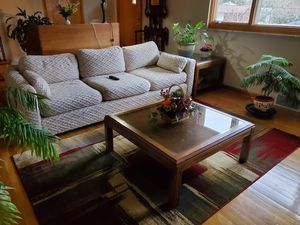 Living room sofa, two end tables, coffee table and big over stuffed chair with matching ottomon. for Sale in Jeannette, PA