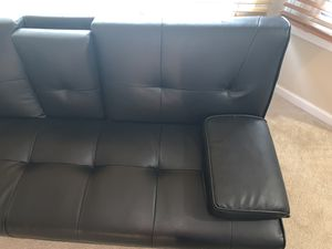 Black leather futon for Sale in Downers Grove, IL