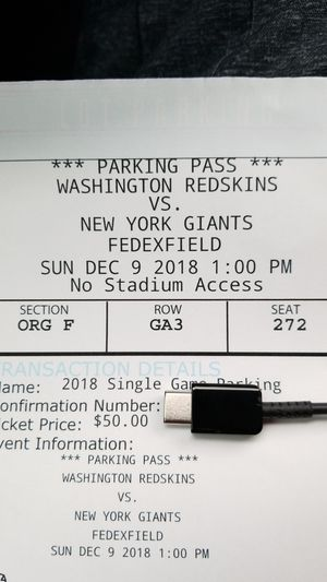 Redskins vs. Giants Parking for Sale in Bowie, MD