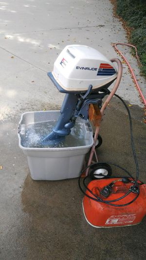 Clean 6hp Evinrude outboard motor and fuel tank for Sale in Huntington Beach, CA