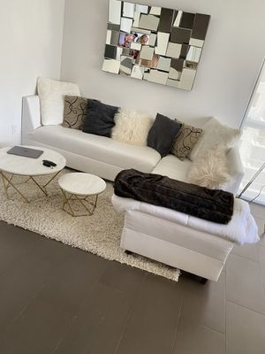 Modern White Faux Leather Sectional Couch for Sale in Miami, FL