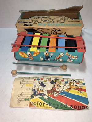 1950's Vintage Disney Donald Duck Xylophone Original Tin Walt Disney World Tudor with original box and music for Sale in Freehold, NJ