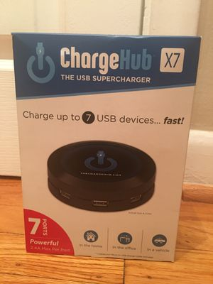 **NEW** ChargeHub X7 - 7-Port USB SuperCharger 2.4A Max per port (Black) for Sale in Springfield, PA