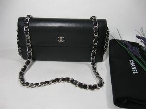 Chanel Black Caviar Leather CC Long Flap Bag Wallet for Sale in McHenry, IL