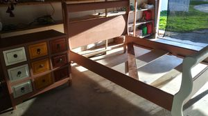 King size bed wood frame solid..& wood dresser..perfect condition for Sale in Riverside, CA